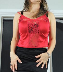 cf6cca1cae0db6 VTG Gigi Red Fancy Scalloped Lace Smooth Satin Nylon Half Slip ...