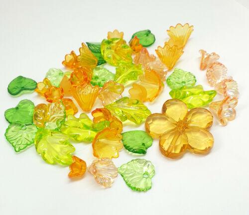 50 x acrílico transparente y esmerilado flores y las hojas Naranja Mezcla