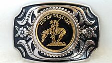 """End of the Trail"" Belt Buckle Western Style Silver/Gold Tone with Black Leather"