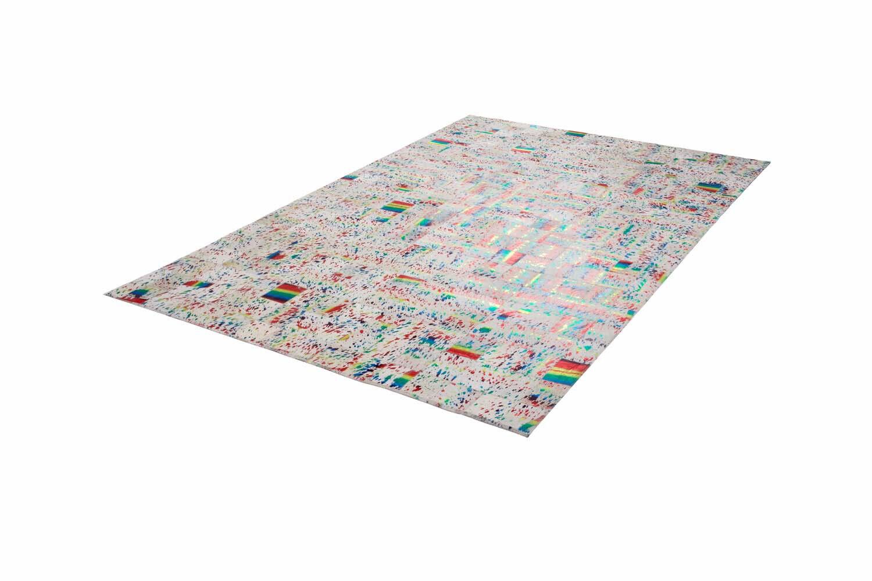 Teppich aus Leder im Patchwork-Design in Elfenbein Elfenbein Elfenbein   Multi Modern Wohnzimmer e77067