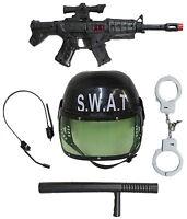 5 Piece Lightweight Soft Plastic Police Swat Team Playset/ Costume Kit