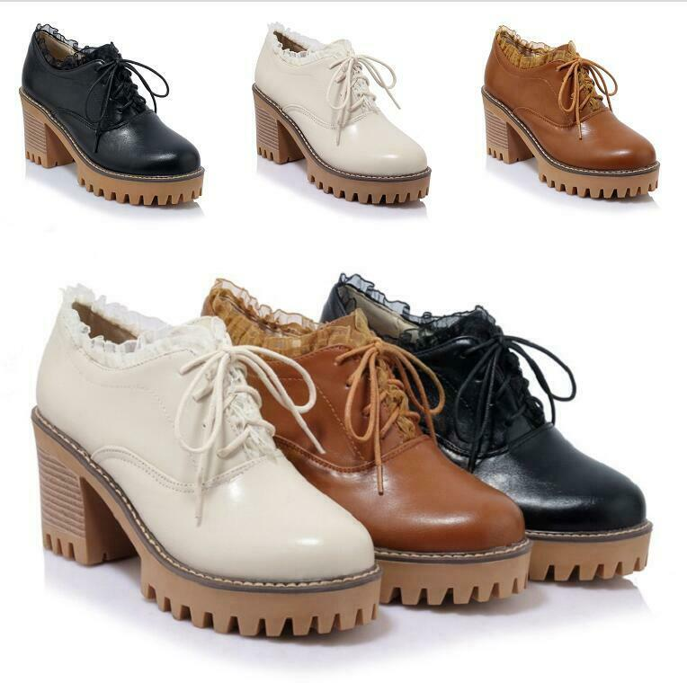 Women's collegiate spring leather lace up kitten heels casuals Brogue shoes plus