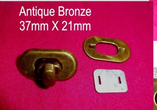 ONE SET Swivel Clasp Turn TWIST LOCK BRONZE Closure Craft Bag Handbag Purse 37mm