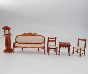 Moebelset-fuer-die-vornehme-Puppenstube-Sofa-Uhr-Stuhl-Tisch-J517