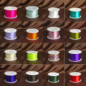 93M-100Yards-1mm-Knot-Satin-Macrame-Beading-Rattail-Nylon-Cords-Jewelry-28-Color