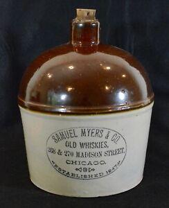 Red Wing Stoneware Advertising Whiskey Jug, Samuel Myers, Chicago, Redwing