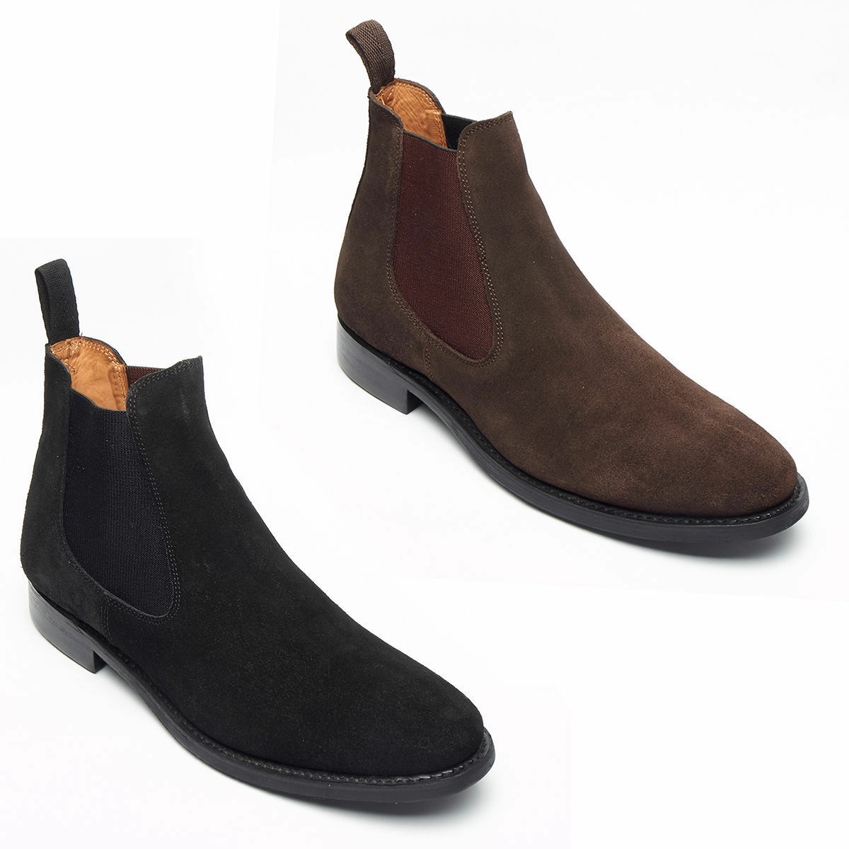 Mens Boys Chelsea Suede Goodyear Welted Sole Ankle Boots - Black All Size