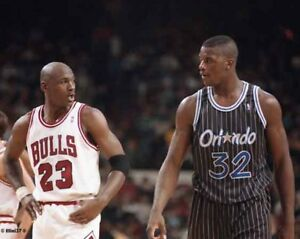 the best attitude 24647 bff59 Image is loading MICHAEL-JORDAN-CHICAGO-BULLS-SHAQUILLE-ONEAL-ORLANDO-MAGIC-