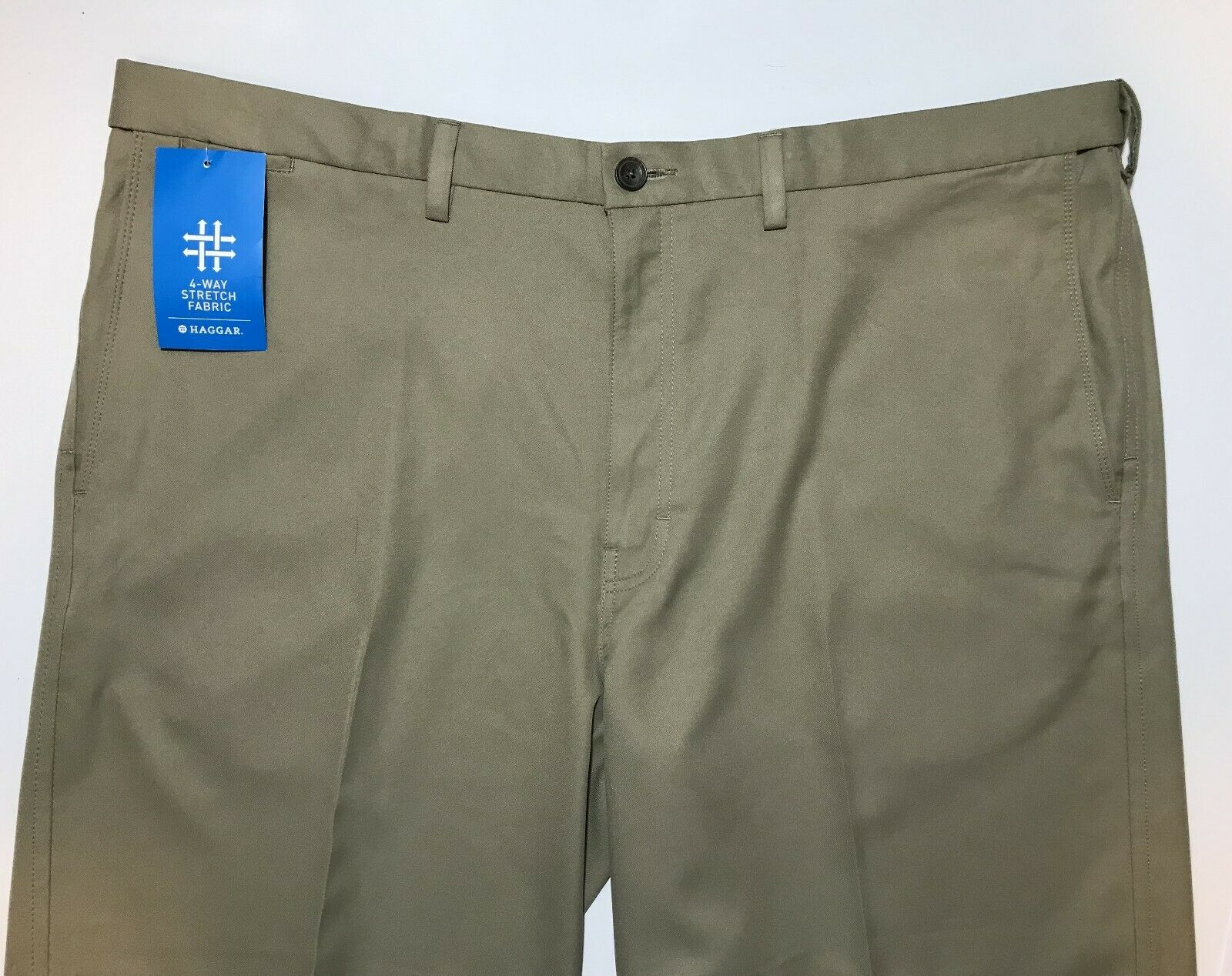 HAGGAR  COOL 18 PRO (262 TAN) TAN SIZE 44 W NWT 100% POLYSTER Flat Front  online-shop