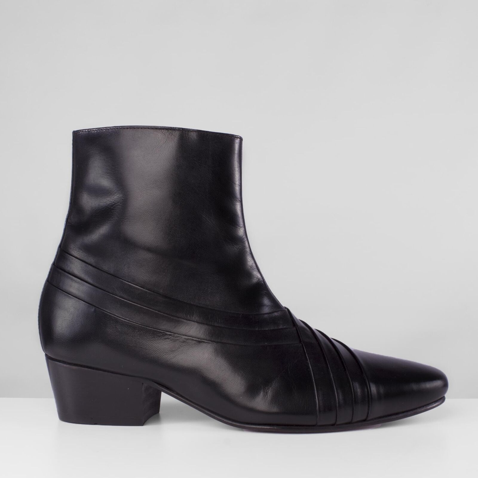 Club Cubano SALVATORE Mens Leather Formal Smart Evening Cuban Heel Boots Black