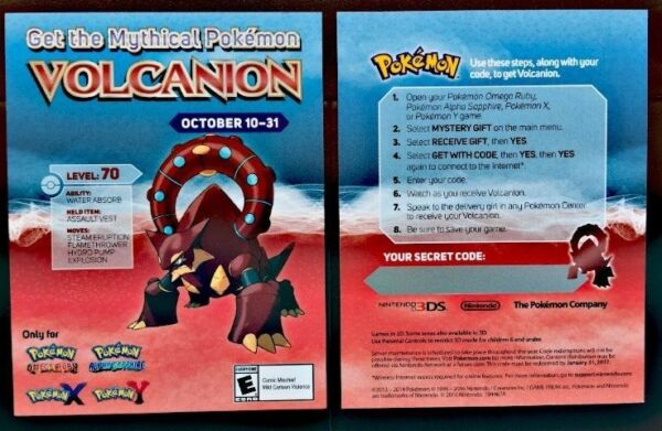 Gamestop Event Mythical Volcanion Pokemon X Y Omegarubyalphasapphire Code  Card