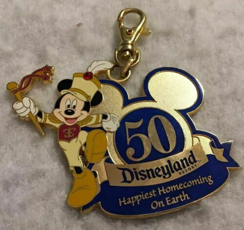 Disneyland Club 33 50th Anniversary Blue and Gold Keychain