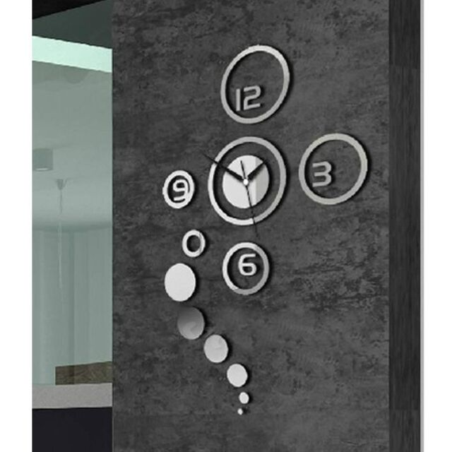 Mirror Home Decor Living Room Removable DIY Wall Clock House 3D Stickers Decals