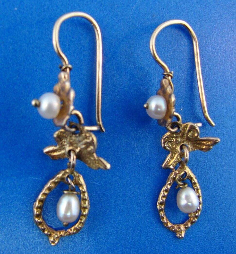 AMAZING 10k Yellow gold Pearl Earrings, c. 1950