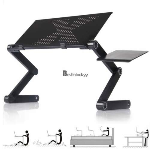 360°Adjustable foldable laptop Notebook Desk Table Fan Hole Stand bed Tray black