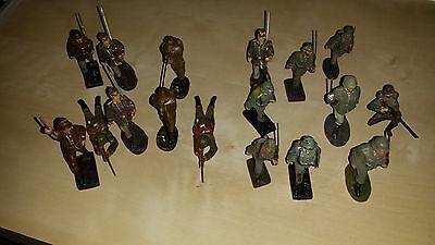 """17 Wehrmacht """"soldaten"""" - Konvolut Von Schusso Und Elastolin - 7 Cm Guter Geschmack"""