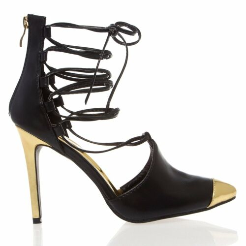 New Womens Gold Pointy Toe Strappy Lace Up Ankle Strap Stiletto Heel Pump Sandal