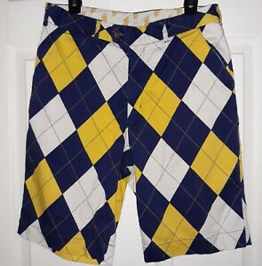 LoudMouth-Argyle-Diamond-Golf-Shorts-Mens-32-Blue-Yellow-Flat-Front-Stretch