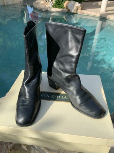 Cole Haan Alanis Black Leather short wedge Boots s