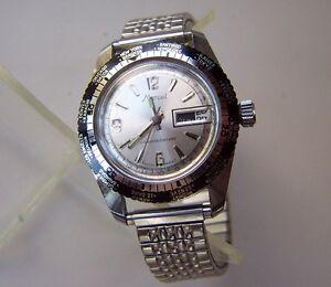 Vintage-MARCEL-World-Time-Bezel-5ATM-Telemetre-Swiss-Men-039-s-Wristwatch-Stainless