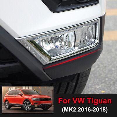 Chrome Front Bumper Fog Light Cover Trim 2pcs For VW Tiguan 2nd Gen 2016-2018