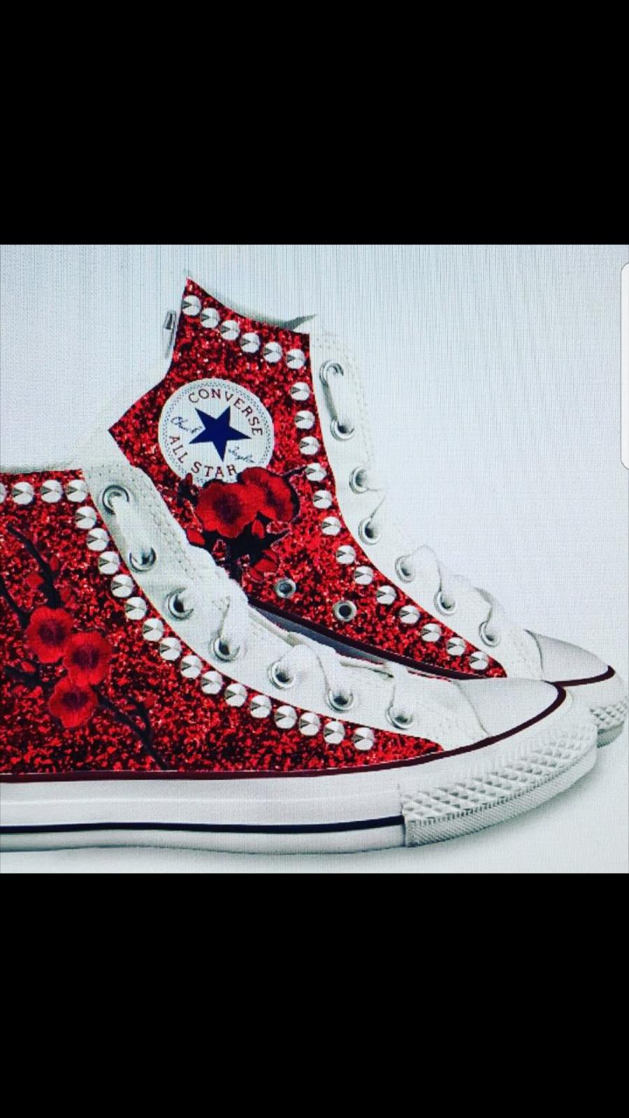 converse all star  piu' con glitter rosso e borchie piu'  peach 1f5946