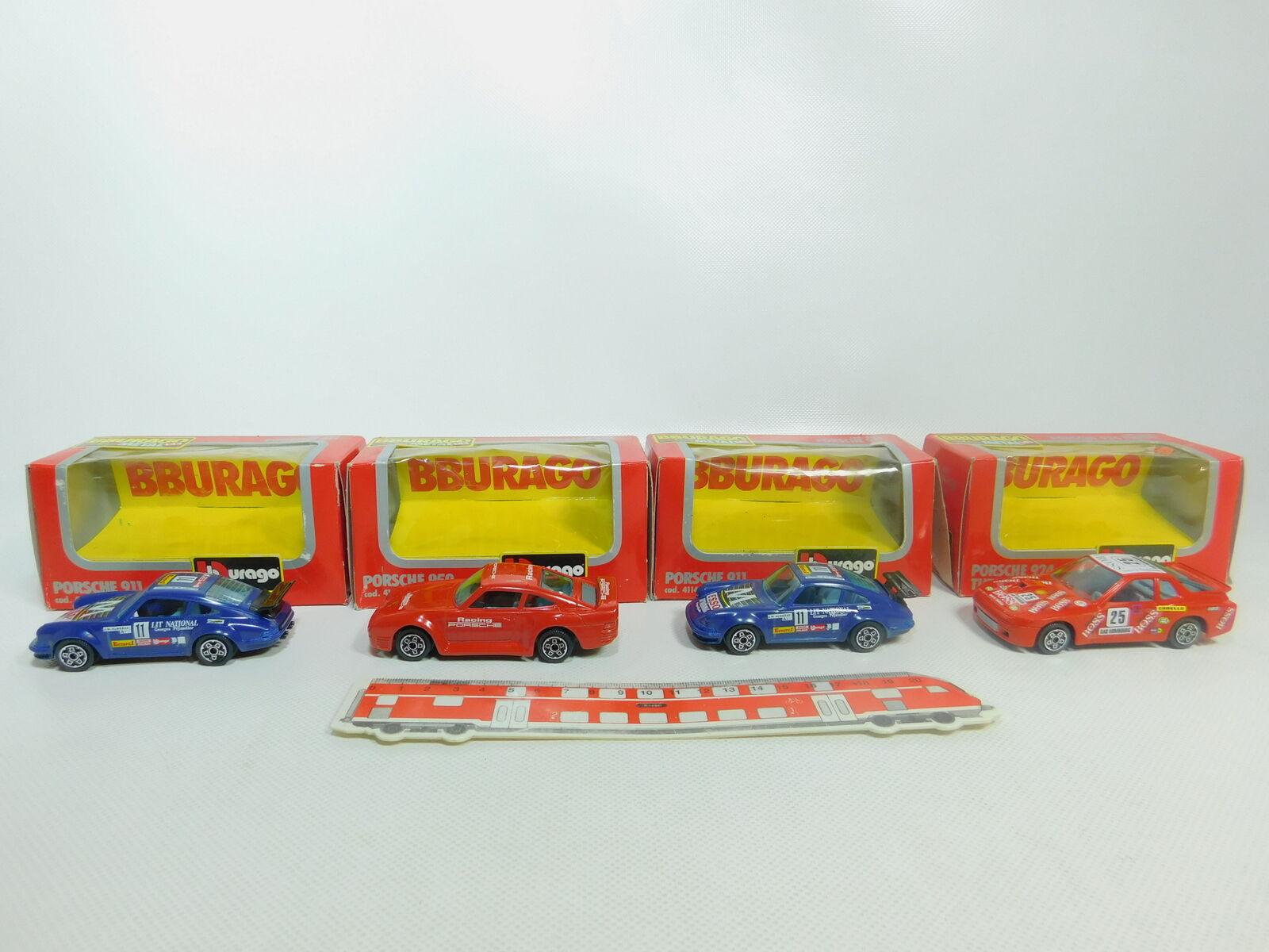 Bo890-1 x burago 1 43 porsche  4114 911 + 4103 924 4161 959,s turbo + G. +