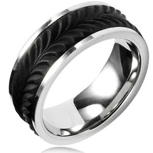 Stainless Steel Feather Forged Carbon Fiber Overlay Ring 8MM