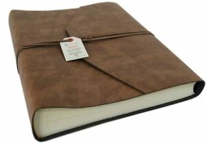Viaggio-Recycled-Leather-Photo-Album-Large-Tan-Handmade-in-Italy