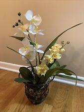 Yellow Silk Oncidium Orchid Spray In Concrete Pot For Sale Online Ebay