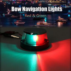 12V-Halogen-Bulb-BI-COLOUR-CHROME-NAVIGATION-BOW-LIGHT-Boat-Starboard-Deck-Light