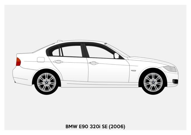 BMW E30 3-Series - POSTER A4 A3 A2 Car Silhouette Saloon