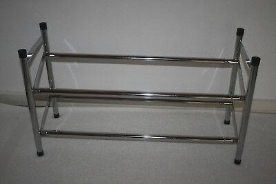 Schuhregal Schuhständer Schuhschrank Metall Verchromt Ausziehbar 63 Bis 112 Cm