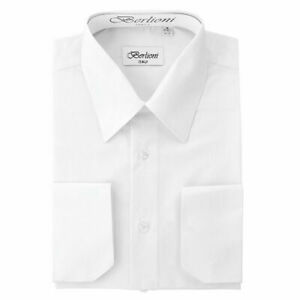 BERLIONI-ITALY-MEN-039-S-PRIME-FRENCH-CONVERTIBLE-CUFF-SOLID-DRESS-SHIRT-WHITE
