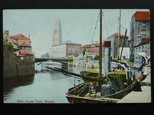 Lincolnshire-BOSTON-Pack-House-Quay-showing-Steam-Boat-Old-Postcard