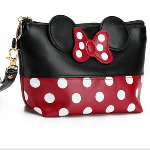 MICKEY-MOUSE-Polka-Dot-Travel-Cosmetic-Bag-Case-Money-Pouch-Clutch-Toiletry-Bag