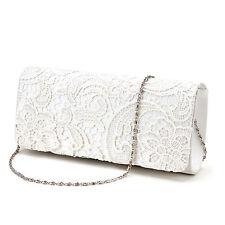 Satin Lace Floral Evening Clutch Bag Wedding Bridal Handbag Purse Ivory White