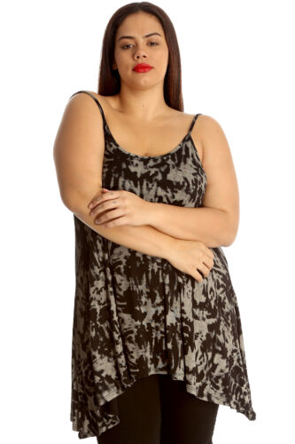 New Womens Top Ladies Camisole Tank Swing Top Abstract Print Plus Size Nouvelle