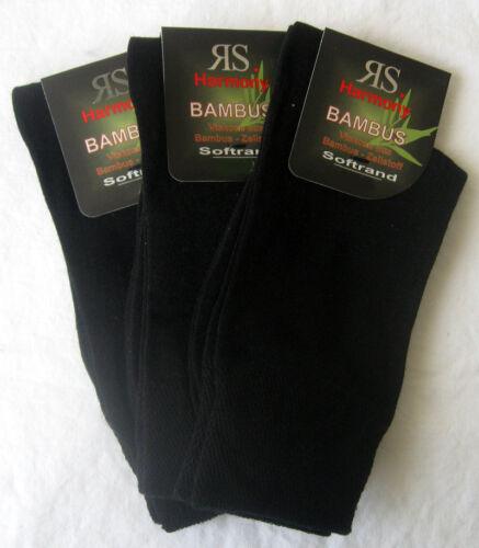 3 Paar Damen Bambus Socken ohne Gummi extra bequemer Softrand schwarz 35 bis 42
