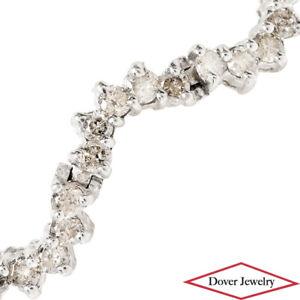 Estate 3.00ct Diamond 14K Gold Wave Tennis Bracelet 8.9 Grams NR