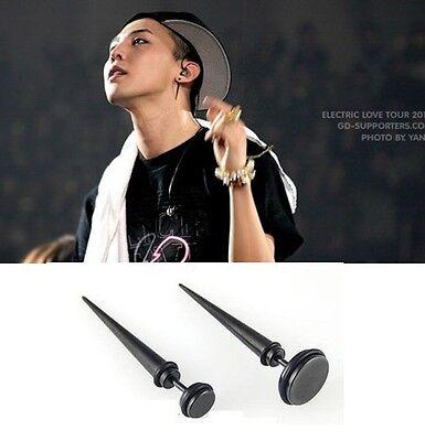 Korean BIG BANG G-DRAGON (Jiywong) SINGLE Black Piercing Fine Stainless Steel