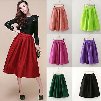 Women Retro High Waist Elastic Flared Full A Line Pleated Dress Midi Skate Skirt
