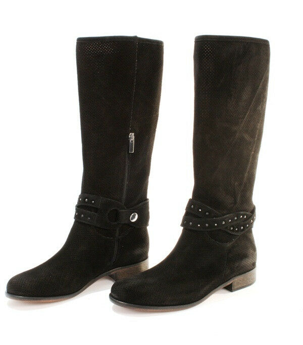 Donna Piu 3891a Black Perforated Suede Summer Knee-High Boots 35 / US 5