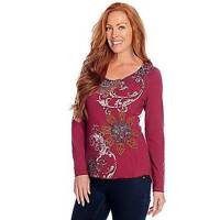 One World Stretch Knit Long Sleeved Stud Embellished Printed Top - M