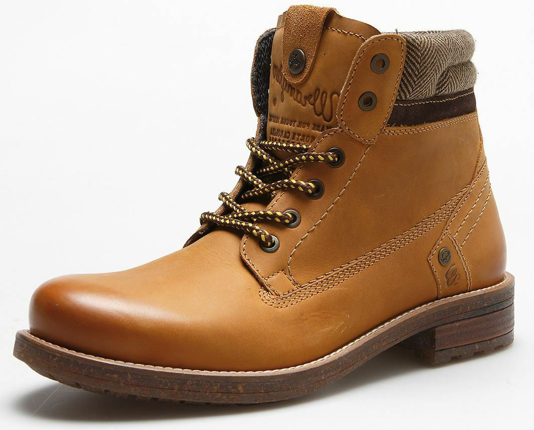 Wrangler Hill Tweed Leather Lace Up Ankle Boots Camel