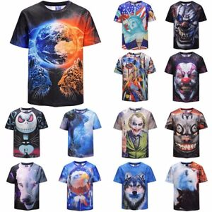 Men-039-s-3D-Animal-Clown-Printed-T-shirt-Short-Sleeve-Funny-Tee-Fashion-Casual-Tops