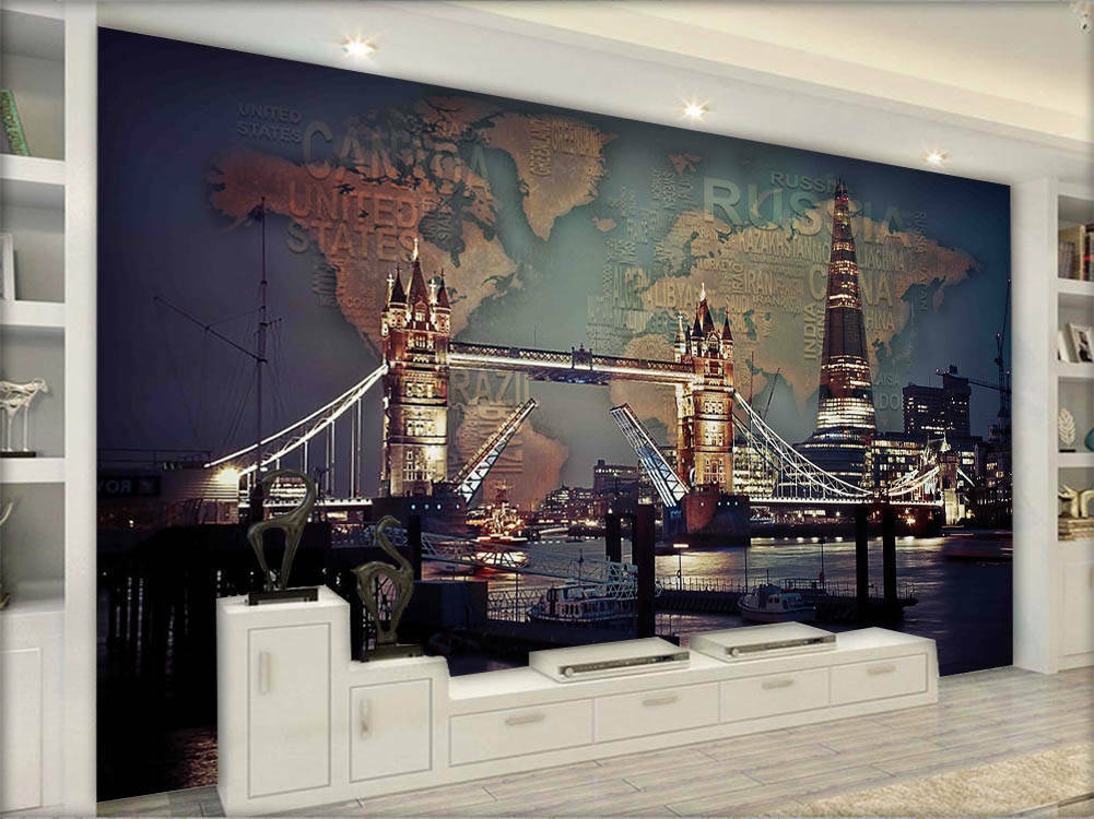 Wooden Focal Map 3D Full Wall Mural Photo Wallpaper Printing Home Kids Decor