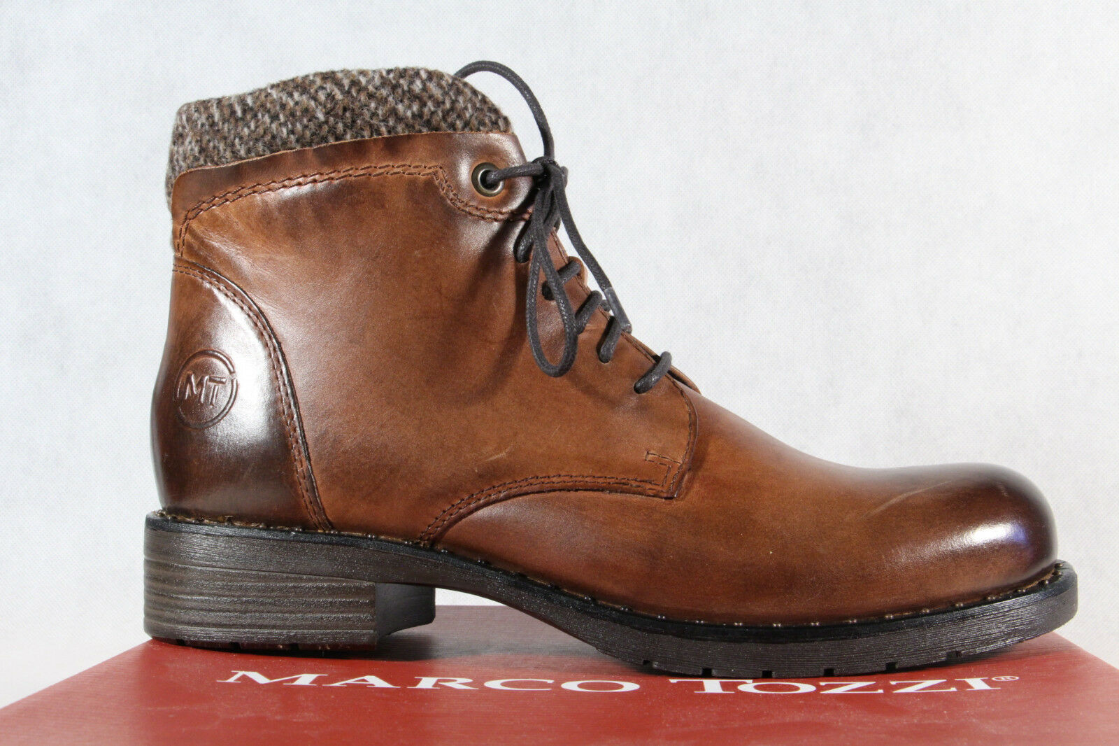 Marco Tozzi Boots Boots Boots Ankle Boot Boots Lace up Boots Brown Leather 25800 New b546a9