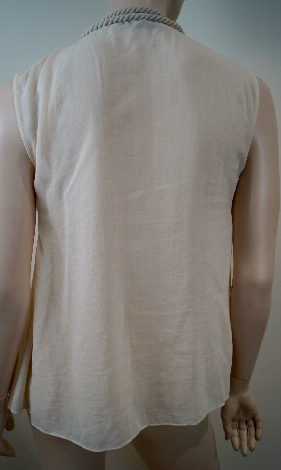 STELLA MCCARTNEY Crema Beige Cotton & Silk Rope & & & Cubo Collo Senza Maniche Top 40 12 11014e