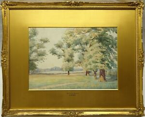 JAMES-PURDY-1900-1972-SIGNED-ORIGINAL-WATERCOLOUR-PAINTING-BRAMCOTE-MEADOWS